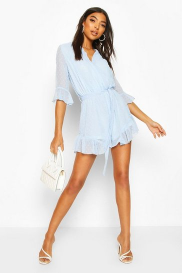 Blue Tall Dobby Mesh Ruffle Playsuit