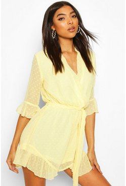 Yellow Tall Dobby Mesh Ruffle Playsuit