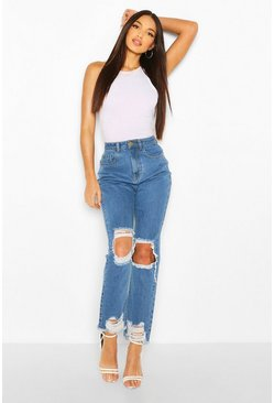 Light blue Tall Denim Fray Hem Rip Knee Straight Jeans