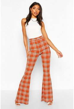 Rust Tall Ribbed Check Print Flare Pants