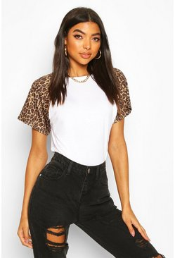 White Tall Leopard Print Sleeve T-Shirt