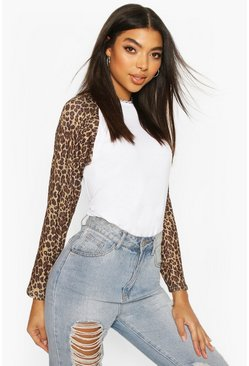 White Tall Leopard Long Sleeve T-Shirt