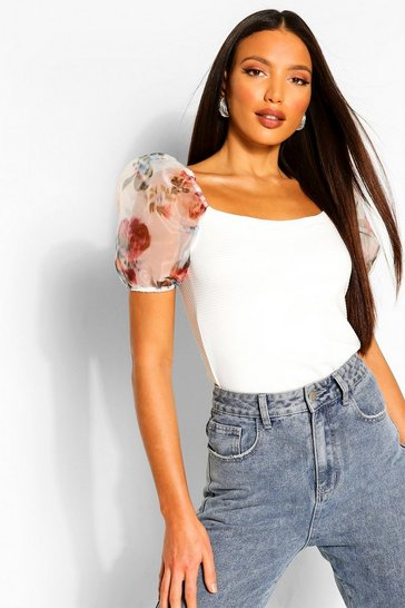 Ivory Tall Blurred Floral Sleeve Rib Top