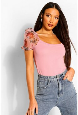 Pink Tall Blurred Floral Sleeve Rib Top