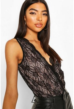 Black Tall Plunge Lace Bodysuit