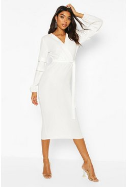 Ivory Tall Ruched Sleeve Belted Midi Dress