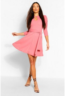 Rose Tall Ruched Sleeve Skater Dress