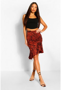 Brown Tall Animal Print Ruched Front Midi Skirt