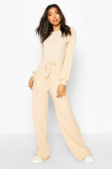 Stone Tall Wide Leg Rib Jumpsuit