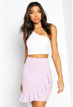 Lilac Tall Ruffle Front Mini Skirt