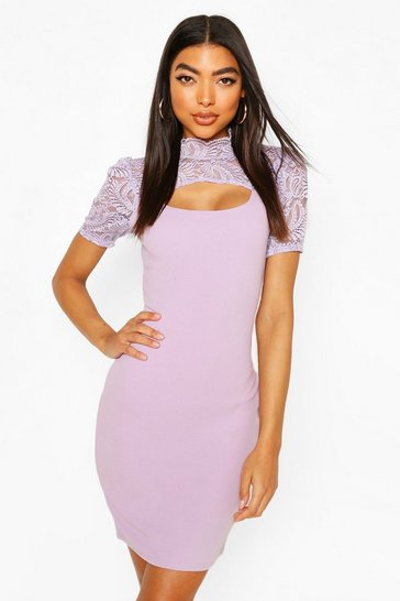 Lilac Tall Mandarin Collar Lace Midi Dress