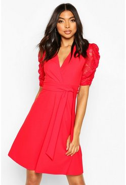 Red Tall Lace Sleeve Midi Skater Dress