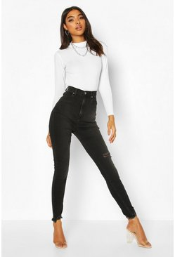 Grey Tall High Waisted Fray Hem Skinny Jeans