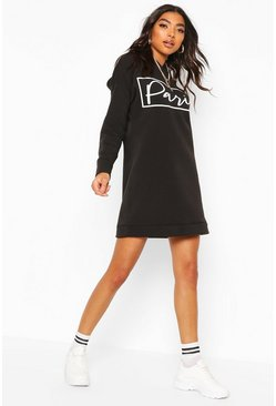 Tall Sweatkleid mit Slogan Paris, Schwarz