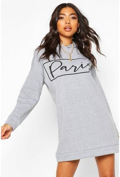 Tall Paris Slogan Sweat Dress, Grey