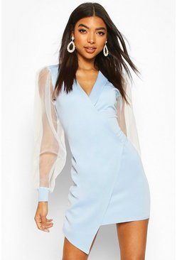 Sky Tall Organza Mesh Sleeve Blazer Dress