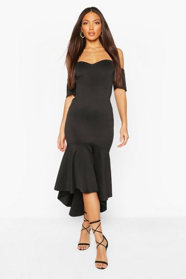 Black Tall Off The Shoulder Frill Maxi Dress