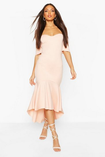 Blush Tall Off The Shoulder Frill Maxi Dress