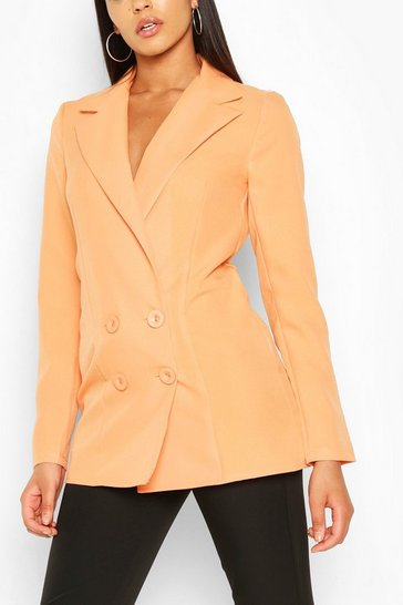 Orange Tall Double Breasted Woven Blazer