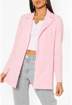 Pink Tall Double Breasted Woven Blazer