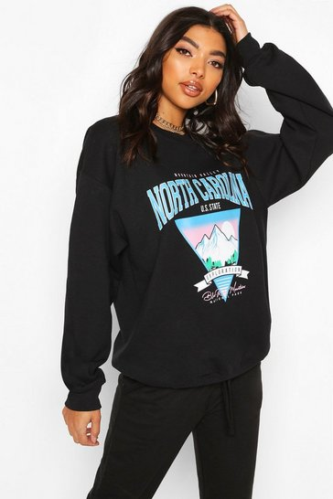 Black Tall 'North Carolina' Slogan Sweat