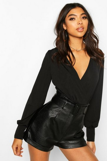 Black Tall Blouson Sleeve Wrap Bodysuit