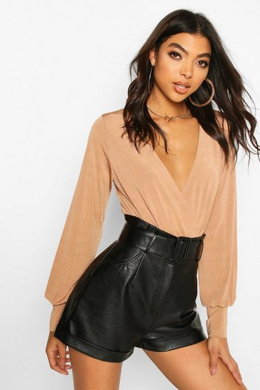 Camel Tall Blouson Sleeve Wrap Bodysuit