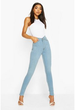 Tall Light Wash High Rise Skinny Jeans, Light blue