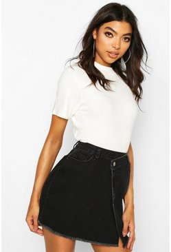 Black Tall Wrap Over Frayed Hem Mini Skirt