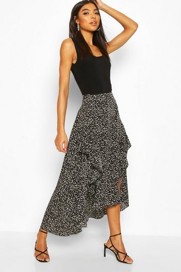 Black Tall Animal Print Ruffle Midaxi Skirt
