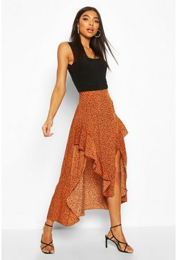 Brown Tall Animal Print Ruffle Midaxi Skirt