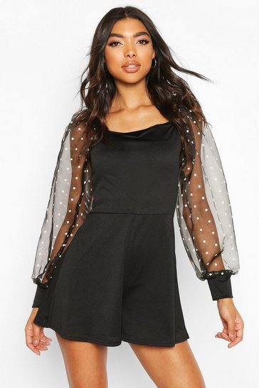 Black Tall Polka Dot Organza Sleeve Playsuit