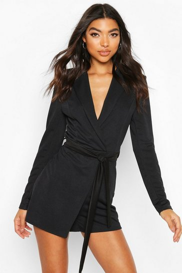 Black Tall Belted Blazer Playsuit