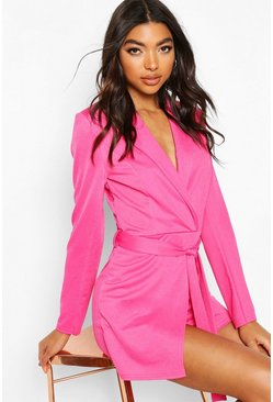 Hot pink Tall Belted Blazer Playsuit