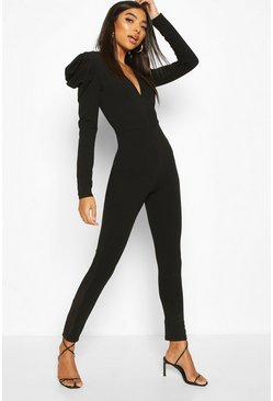 Black Tall Pleated Puff Shoulder Jumpsuit