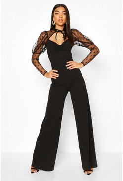 Black Tall Polka Dot High Neck Wide Leg Jumpsuit