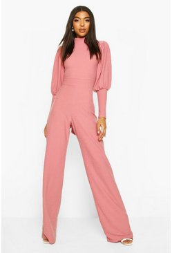 Dusty rose Tall High Neck Open Back Wide Leg Jumpsuit