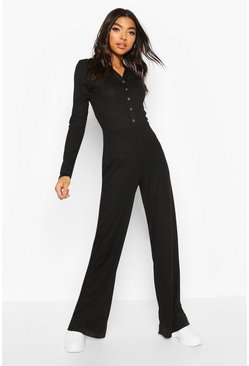 Black Tall High Shine Rib Popper Wide Leg Jumpsuit