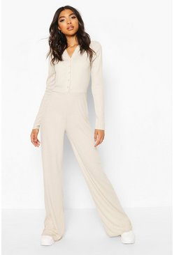 Champagne Tall High Shine Rib Popper Wide Leg Jumpsuit