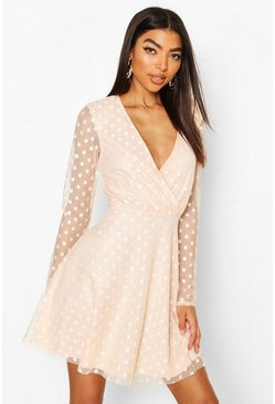 Blush Tall Dobby Mesh Wrap Skater Dress
