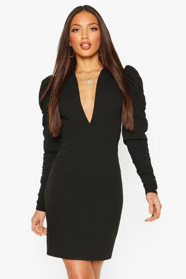 Black Tall Ruched Puff Sleeve Mini Dress