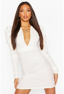 Ivory Tall Ruched Puff Sleeve Mini Dress
