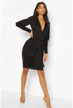 Black Tall Slinky Ruched Blouson Sleeve Mini Dress