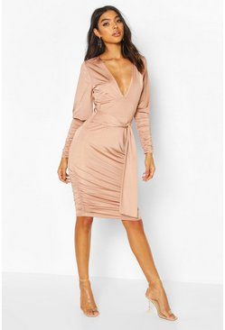 Champagne Tall Slinky Ruched Blouson Sleeve Mini Dress