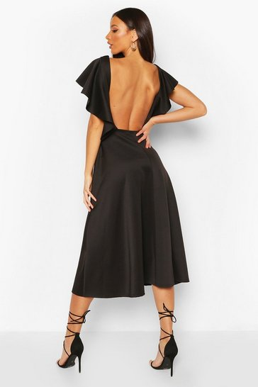 Black Tall Ruffle Midi Skater Dress