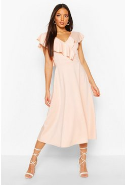 Blush Tall Ruffle Midi Skater Dress