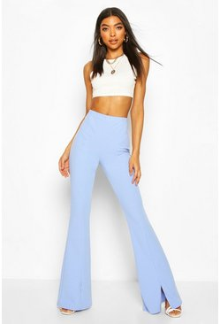 Powder blue Tall Split Front Tailored Flares