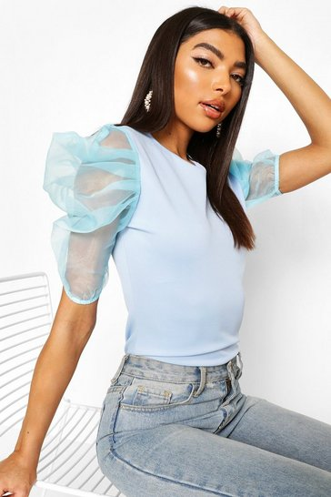 Blue Tall Organza Puff Sleeve Top