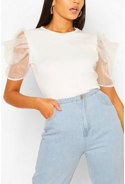 White Tall Organza Puff Sleeve Top