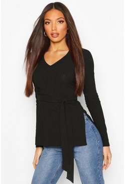 Black Tall Belted Side Split Rib Top